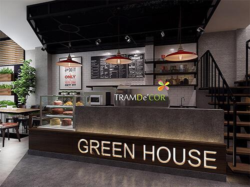 Green House - Thiết kế cà phê kết hợp máy lạnh và sân vườn