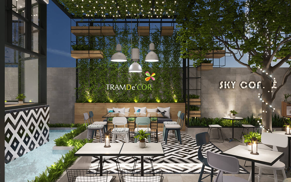 Sky Coffee - Thiết kế quán cà phê sân vườn hiện đại