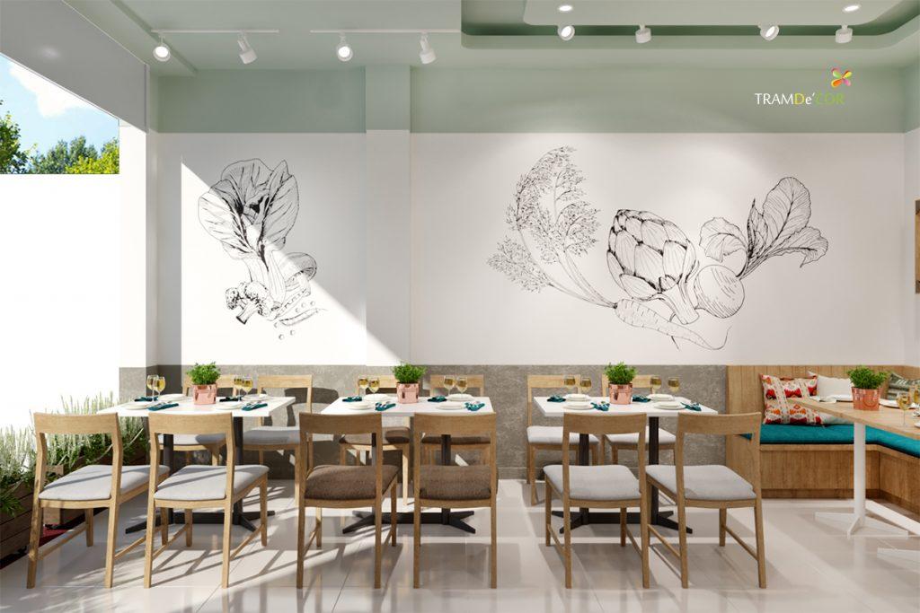 Sử dụng họa tiết sen là cảm hứng chủ đạo trong những thiết kế nhà hàng chay