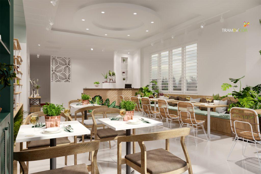 Vật liệu gỗ là chất liệu không thể thiếu trong thiết kế nội thất nhà hàng chay