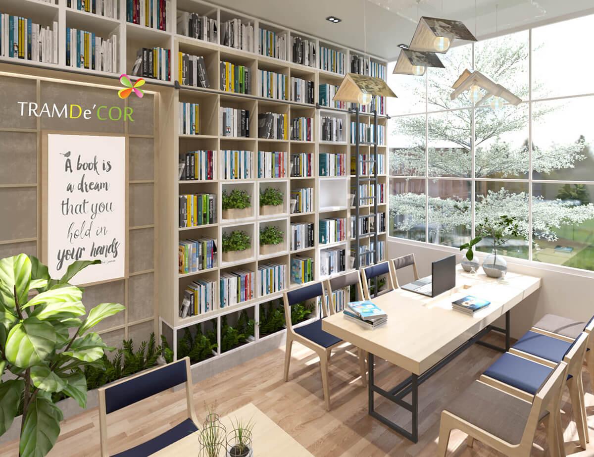 Thiết kế quán Cafe Sách ấn tượng tại hcm