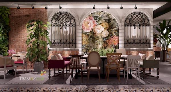 thiết kế nhà hàng món âu - Nhà hàng món Âu luôn đầu tư thiết kế không gian ấm cúng, sang trọng, cổ điển. Trong thiết kế nhà hàng phong cách Châu Âu, Tramdecor tận dụng những đường cong mềm mại có tính thuyết phục và đậm chất nghệ thuật để tạo không gian lãng mạn nên thơ
