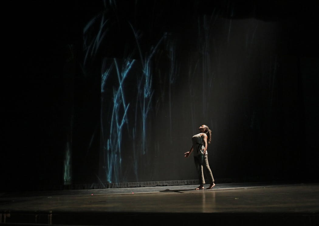 """Dancer Leslie Parker during a dress rehearsal for """"Weave,"""" Saturday, Jan. 5, 2019, at O'Shaughnessy Auditorium at St. Catherine University in St. Paul."""