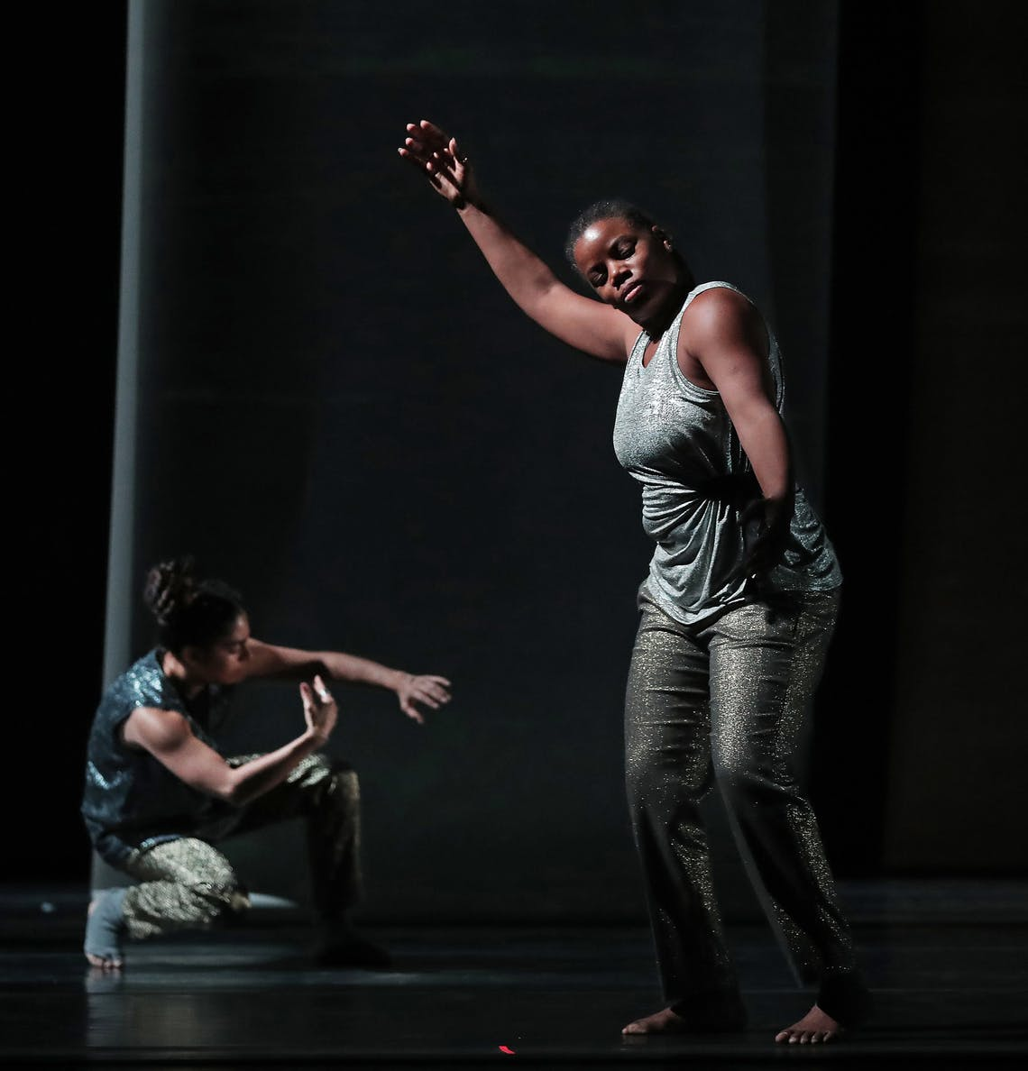 """DAVID.JOLES@STARTRIBUNE.COM Performers Leslie Parker, front, and, Zoë Klein were fluid and captivating during a dress rehearsal for """"Weave."""""""