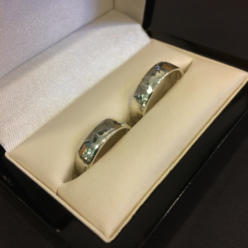 Planished Sterling Silver, Polished Wedding Rings