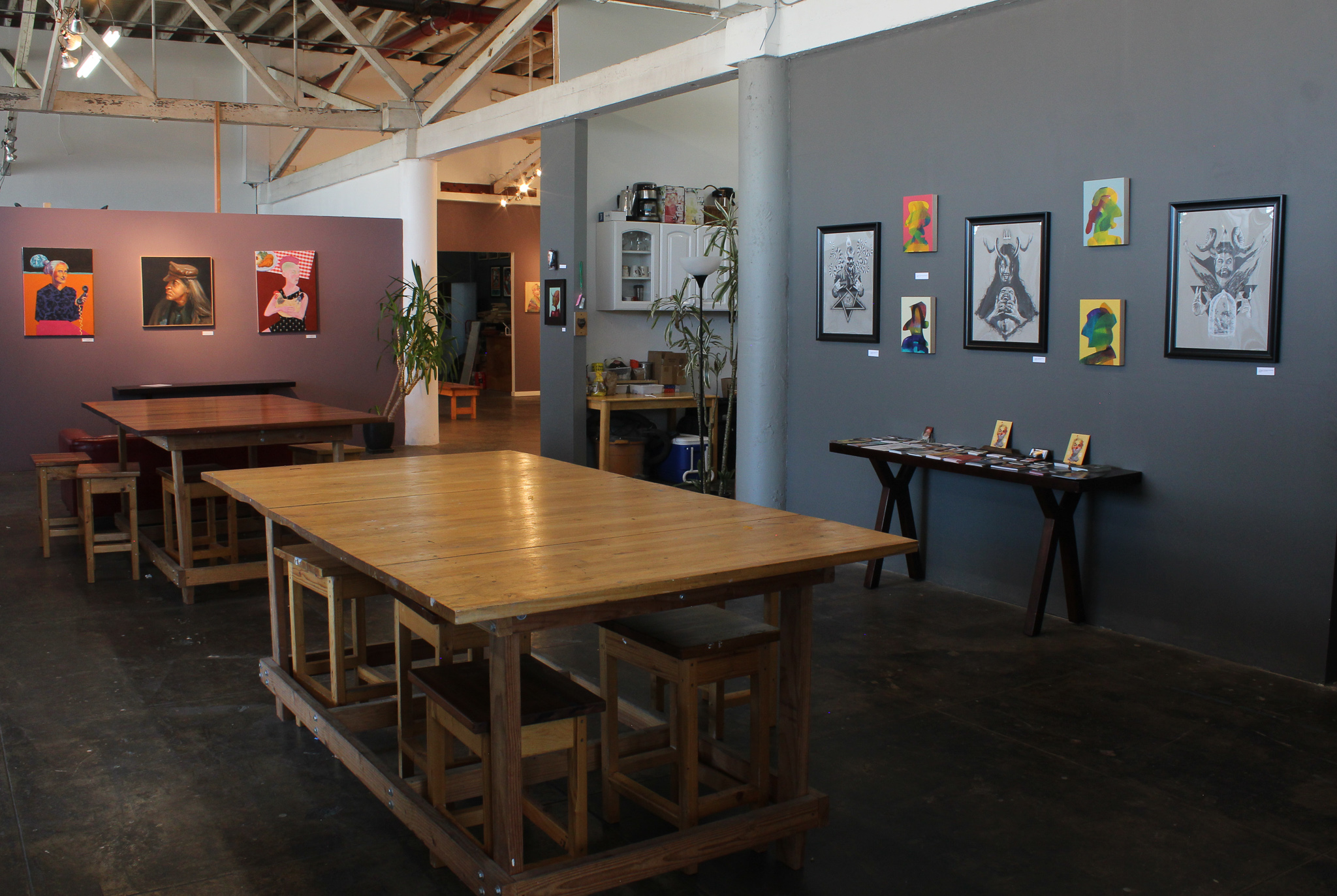View of the main common space. Faultline Artspace has 20 art studios and 25+ artists that share our 10,000 sq ft facility.