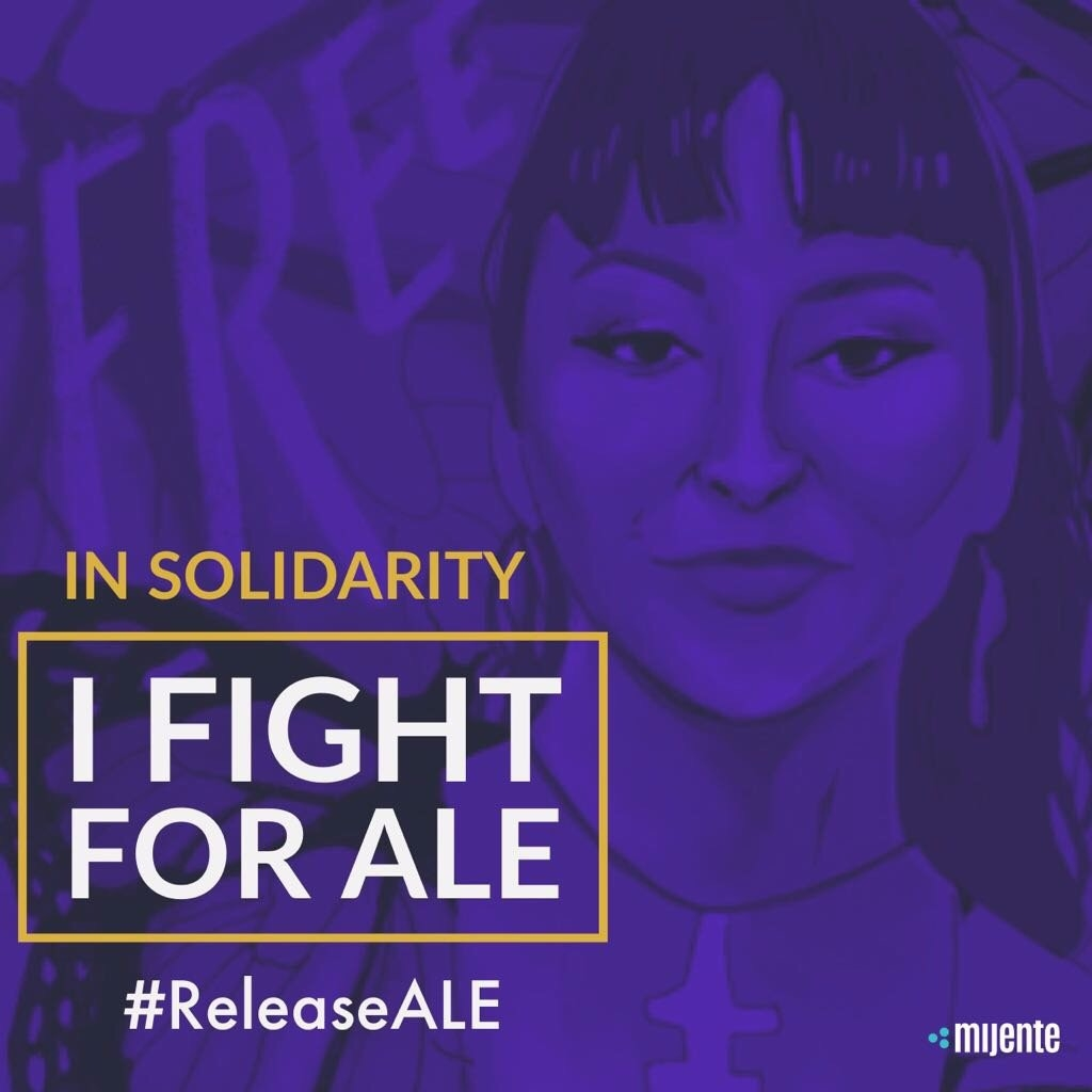 Graphic created by    @nerdybrownkid    to demand Ale's release while she was in detention March 7 - April 19, 2018.