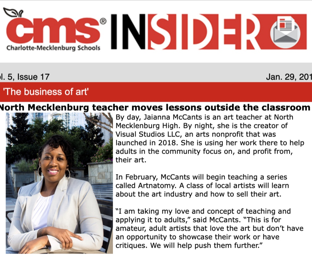 "CMS Insider  - ""We're focusing on the business of art,"" said McCants. ""How can you be a profitable artist? We're going to challenge the class to think about the purpose of what they're making. Why will people buy this?"""