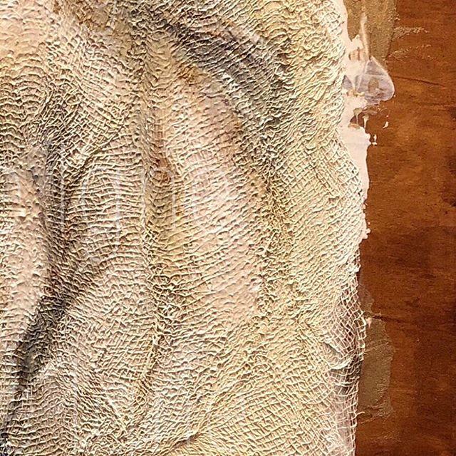What's Wood + Gesso + Gauze = ? (See next post) @minnieigneart #nextpiece #art #texturedart