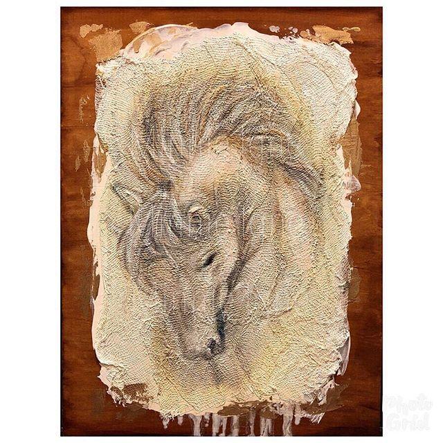 """Free Spirit"" 🐴💫 • Exhibiting now at the 2019 PVAA Annual Juried Art Show (PVAA Art Place @montclair_place ) • Original MixedMedia Oils on 11""x14"" stained wood panel (Geeso & Gauze base) Available for Purchase • @minnieigneart  #minnieigneart #oilpainting #mixedmedia #fineart #art #artist #fineartartist #oilpainting #mixedmediaartist #horse #horsepainting #texturedart #arttextures #madewithaloha #socalartist #localartist #horse #texture #texturetuesday #pvaa #pomonavalleyartassociation #capturingartandbeautyoncanvas"