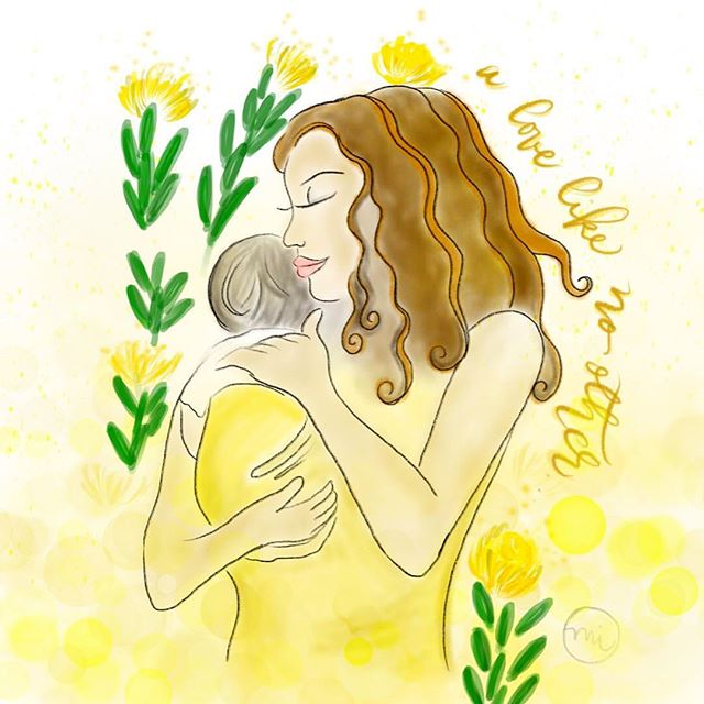 """𝓗𝓪𝓹𝓹𝔂 𝓜𝓸𝓽𝓱𝓮𝓻'𝓼 𝓓𝓪𝔂!! 💛💛💛 . """"And his mother treasured up all these things in her heart."""" – Luke 2:51 . #watercolor circa 2016 @minnieigneart . #happymothersday #minnieigneart #artist"""