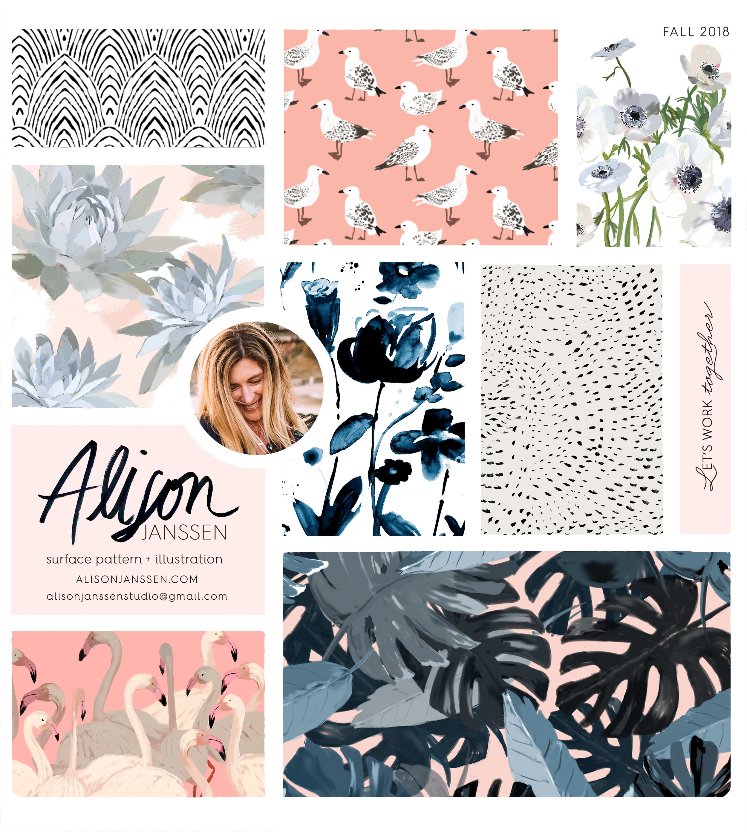 black & white mountain ,  seagulls , white anemone - coming soon…   blue agave ,  prairie watercolor ,  watercolor dots  ,  flamingo party ,  fall tropics
