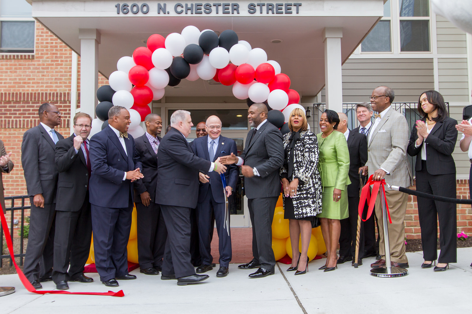 """Maryland Governor Larry S. Hogan joined Pastor Donte' and First Lady Danielle Hickman of Southern Baptist Church and Woda Senior Vice President Kevin V. Bell for the grand opening of the Mary Harvin Senior Center. Other elected officials included: City Council President Bernard C. """"Jack"""" Young, Comptroller Joan M. Pratt, Councilman Carl Stokes, Senator Nathaniel McFadden and States Attorney Marilyn Mosby."""