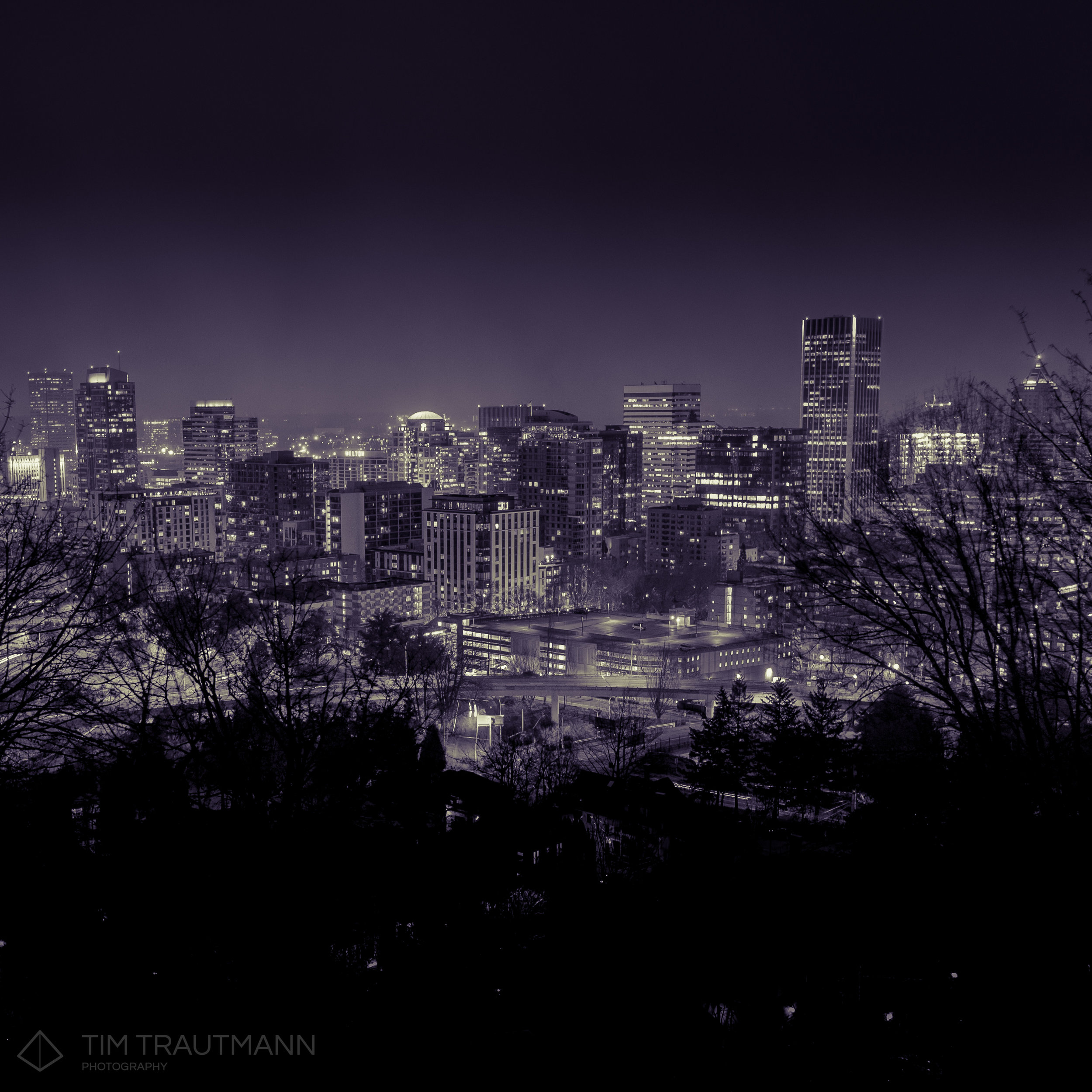 Downtown Portland seen from the west hills on a frigid winter night.