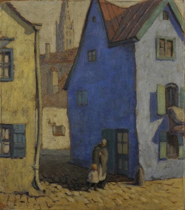 Blue House, Munich, 1928, Grant Wood (American, 1891-1942), Oil on board, 23 ½ x 20 ¼ in.