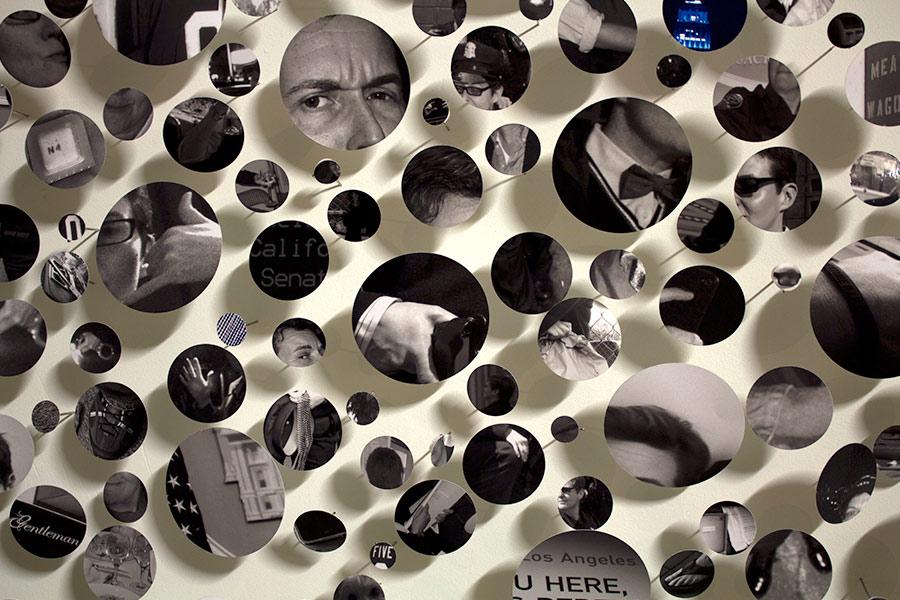 "Ladies & Gentlemen. 144""W x 96""H x 6""D. Digital Prints, T-pins, Velcro. (2012)"
