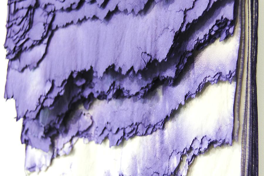 """Mauveine State. 13""""W x 26""""L x 4""""D. Paper, Dye. (2017)"""