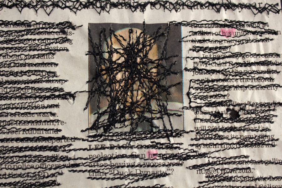 """Year in Review. 10"""" x 14"""". Los Angeles Times Newspaper, Thread. (2014)"""