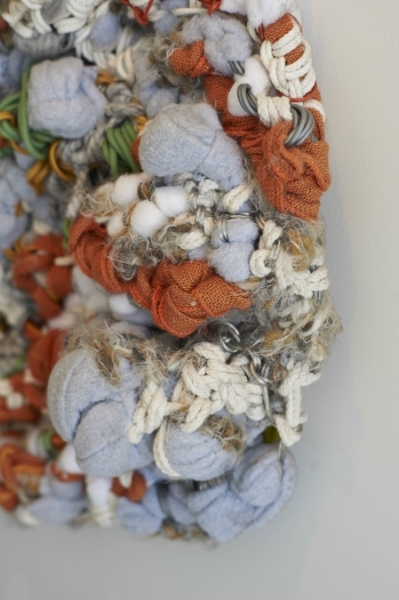 "Detail. Cumulus. 48""W x 30""H x 9""D. Wire, Sash Cord, Cotton Clothes Line, Wool Yarns, Fleece, and Linen (2015)"