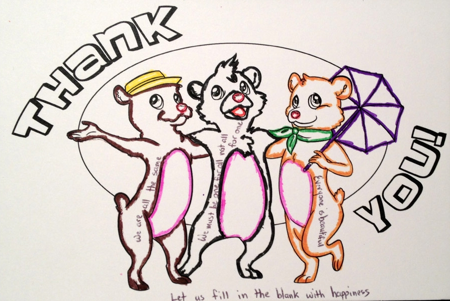 Thank You! Thank You! Dimensions Variable. Details of Four Patterns of Illustrated Thank You Cards Colored by Community Participants. (2014)