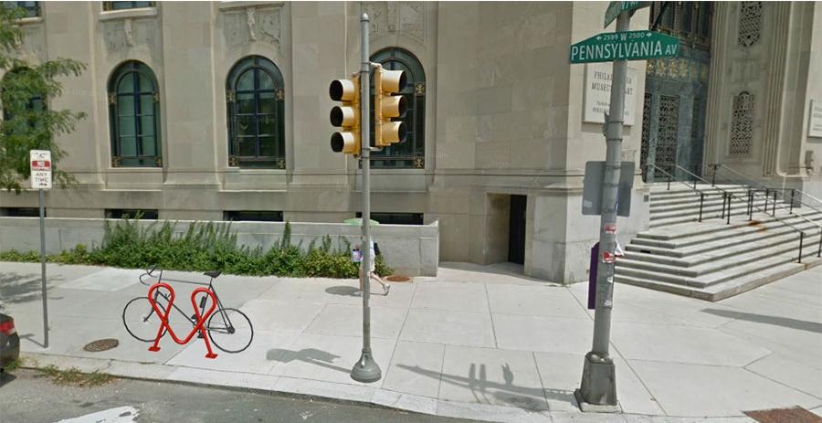 "City of Brotherly Love Bike Rack. 36""W x 36""H x 8""D. Powder Coated Steel. (2013)"