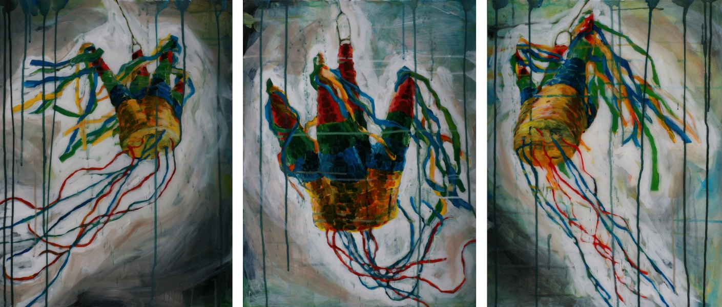 "Piñata Triptych. 54""W x 24""H. Mixed Media on Canvas on Panel. Anna Stump (2012)"