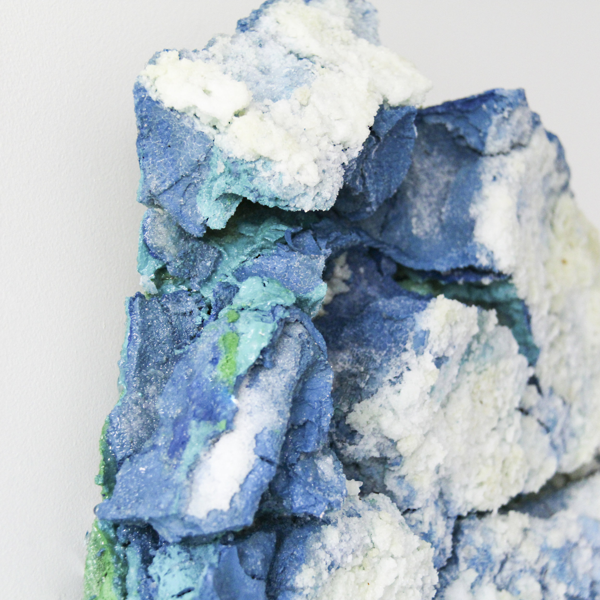 """Hear Your Silence. 12""""W x 12""""L x 2.5""""D. Water-based paint, salt, and resin. (2018)"""
