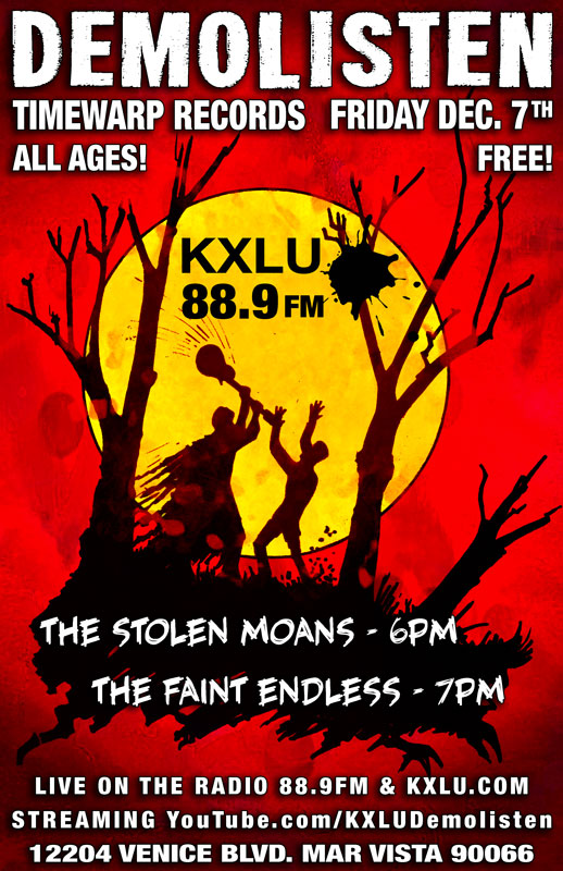 The Stolen Moans are LIVE on the Radio, YouTube & in-person at Timewarp Records. Friday, December 7th 6pm Sharp!