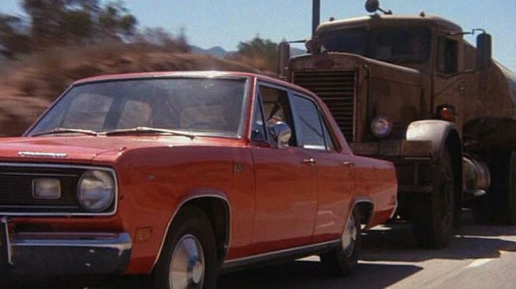 Duel - 1971, Steven SpielbergDavid Mann (Dennis Weaver), a mild mannered electronics salesman, is driving cross-country on a two-lane highway when he encounters an old oil tanker driven by an unseen driver who seems to enjoy annoying him with dangerous antics on the road. Unable to escape the demonic big rig, David finds himself in a dangerous game of cat and mouse with the monstrous truck. When the pursuit escalates to deadly levels, David must summon his inner warrior and turn the tables on his tormentor.
