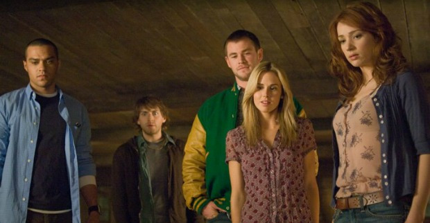 Cabin in the Woods - 2012, Drew GoddardWhen five college friends (Kristen Connolly, Chris Hemsworth, Anna Hutchison, Fran Kranz, Jesse Williams) arrive at a remote forest cabin for a little vacation, little do they expect the horrors that await them. One by one, the youths fall victim to backwoods zombies, but there is another factor at play. Two scientists (Richard Jenkins, Bradley Whitford) are manipulating the ghoulish goings-on, but even as the body count rises, there is yet more at work than meets the eye.