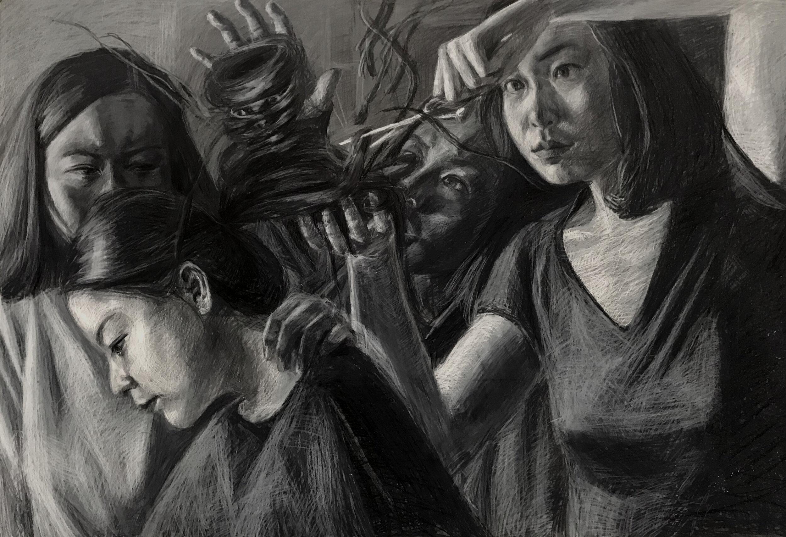 "The Haircut, 18x36"" crayon on masonite (2018)"