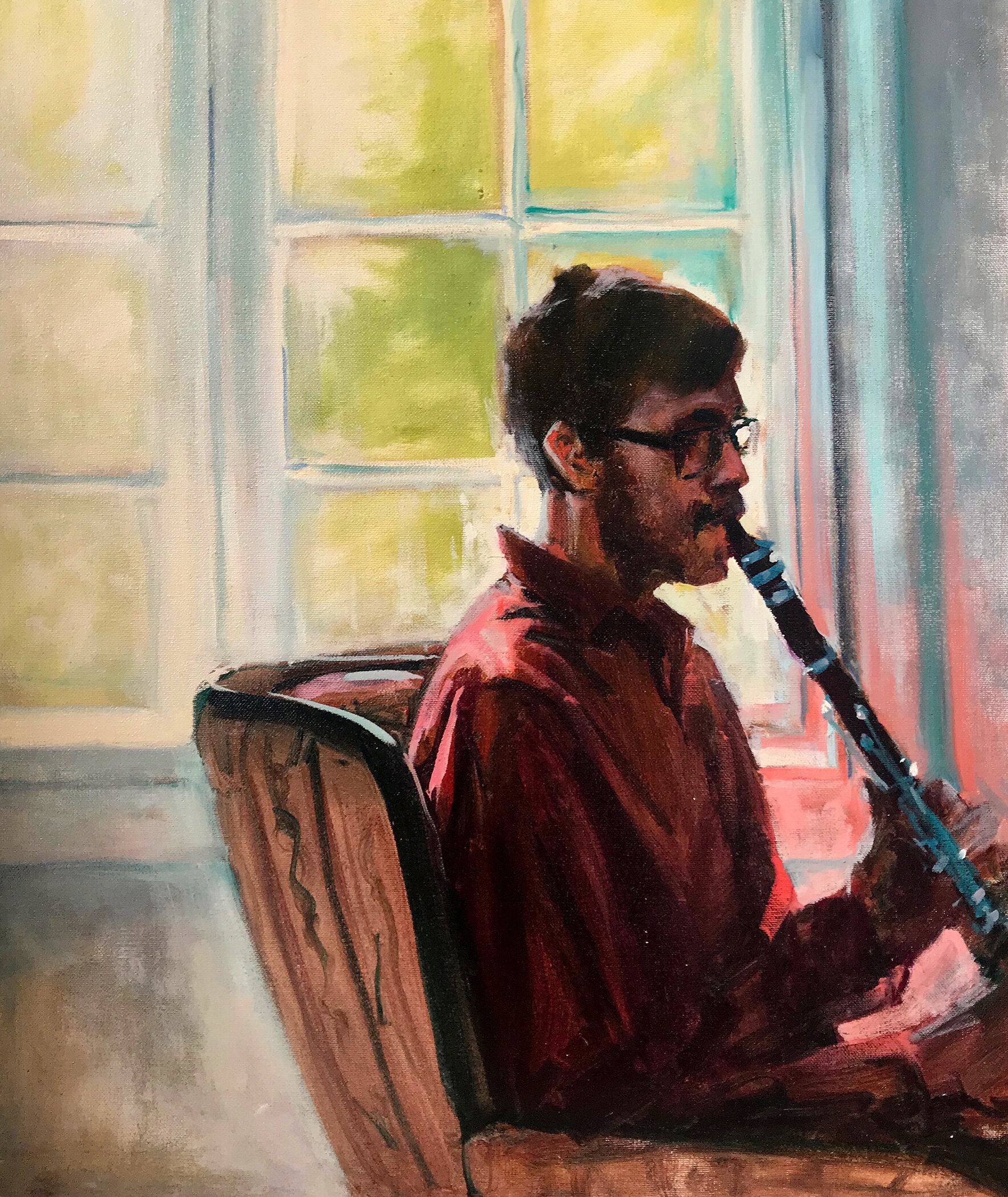 "Alex, 24x20"" oil on canvas (2019) Part of a  Padanaram Chamber Music Festival  Portrait Series"