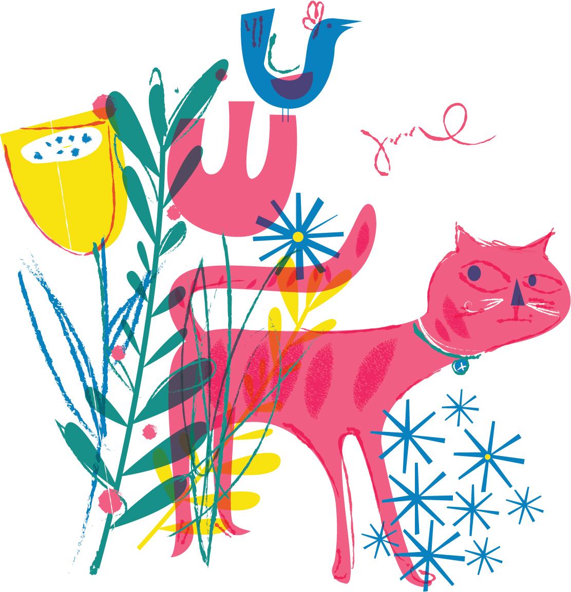 Cat & Flowers