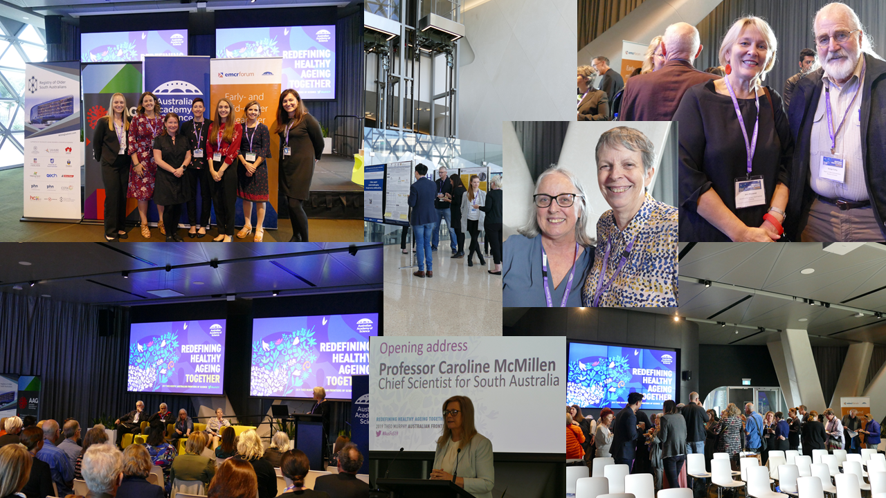 "Collage of photos from the ""Redefining Healthy Ageing Together"" symposium. SAHMRI. April 2019."