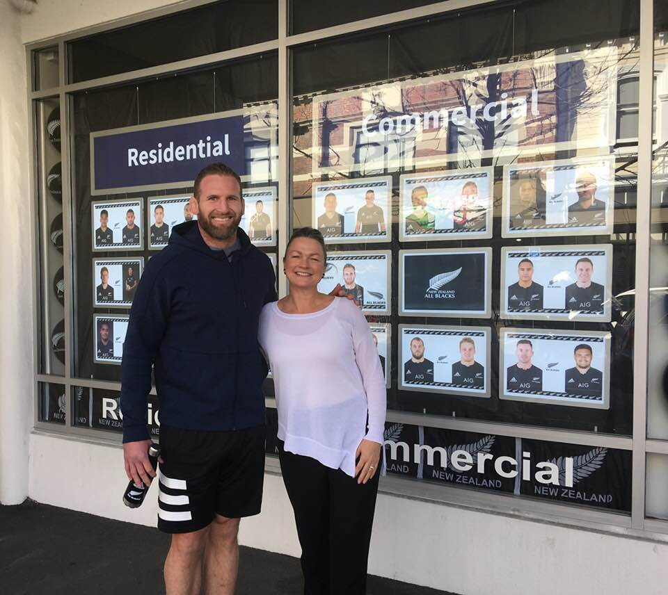 Harcourts Nelson's Lisa Harvey was there to greet All Blacks captain Kieran Read when he popped by.