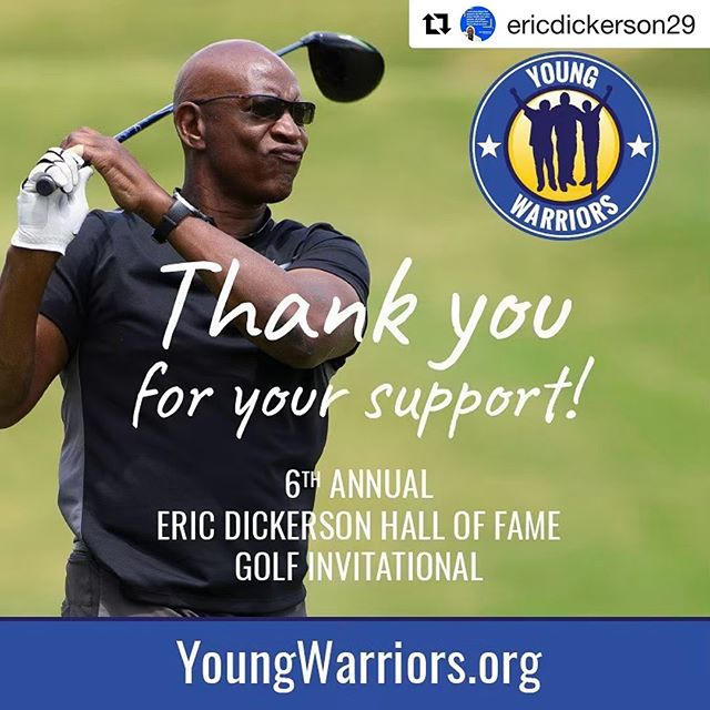 #Repost @ericdickerson29 ・・・ Thank you for coming out to support @youngwarriorsla for the 6th annual Eric Dickerson Hall of Fame golf invitational - you can still donate to our cause at youngwarriors.org