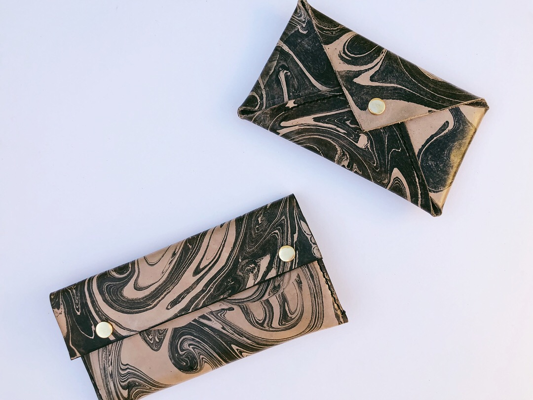 one of a kind - hand-dyed leather accessories.