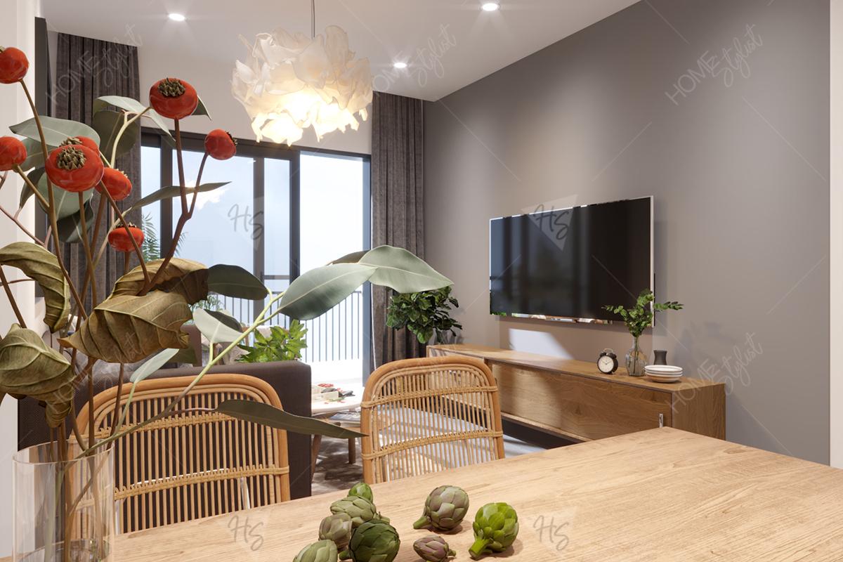 Kết hợp nội thất phòng khách và phòng ăn của căn hộ