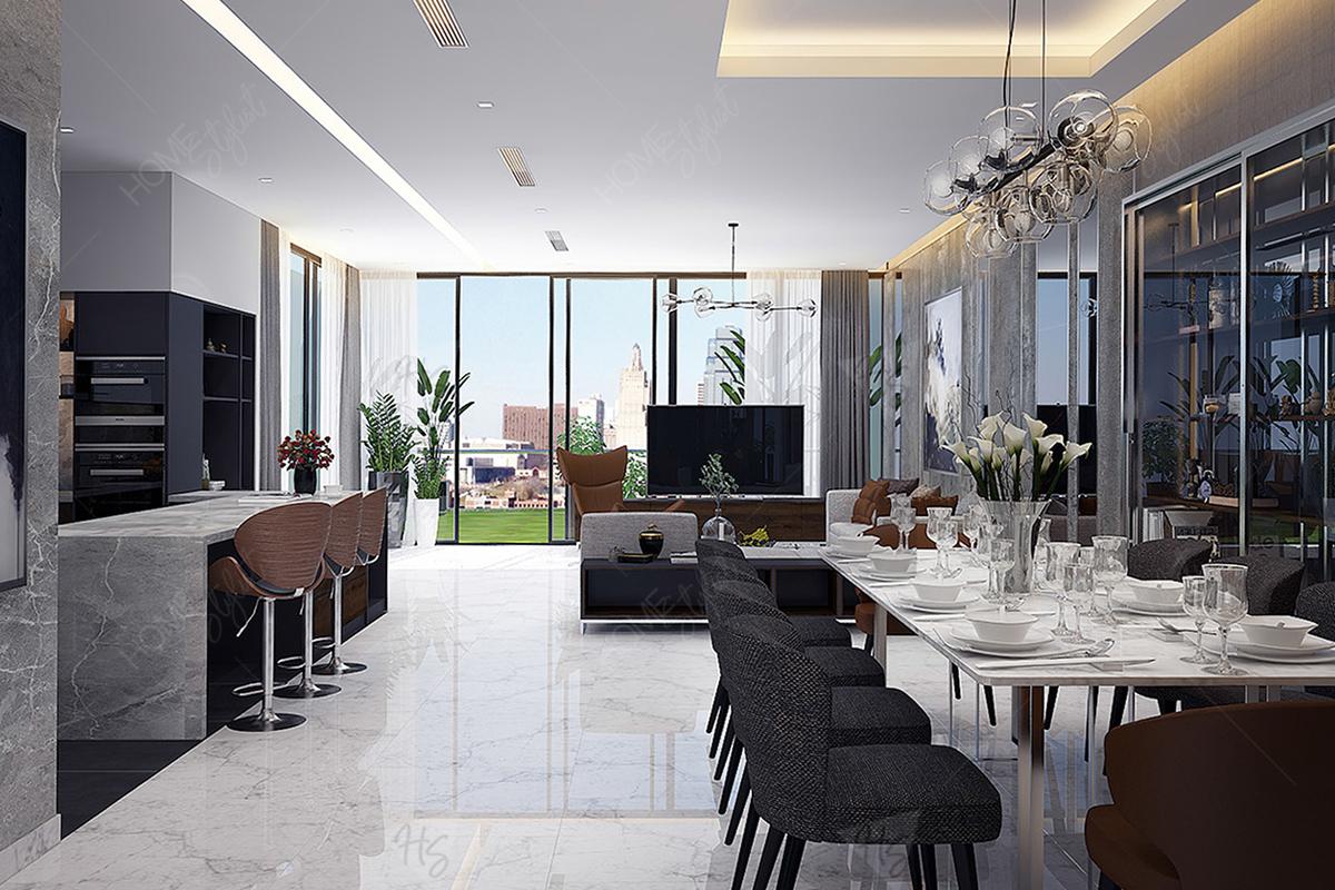 Phòng ăn cao cấp ngay tại tầng trệt ngôi nhà