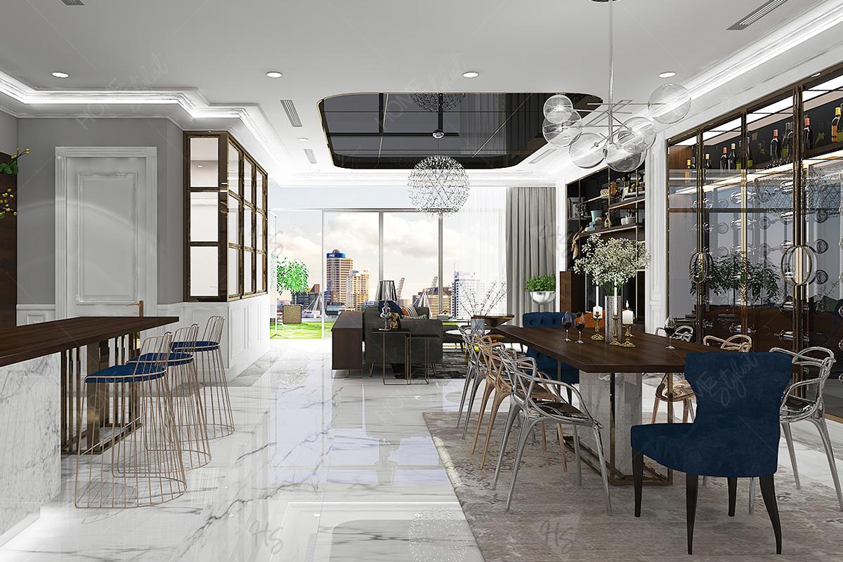 Phòng ăn tại lầu 5 với cách trang trí sang trọng đẹp mắt