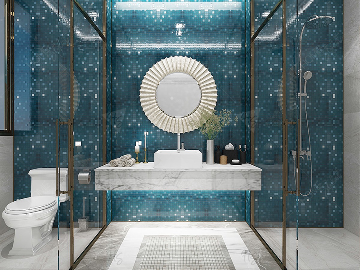 Phòng wc được trang trí với kính trong suốt, sang trọng.