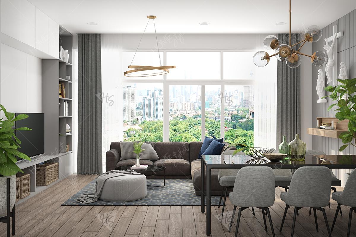 Không gian nội thất căn hộ chung cư Orchard được thiết kế theo phong cách Scandinavian