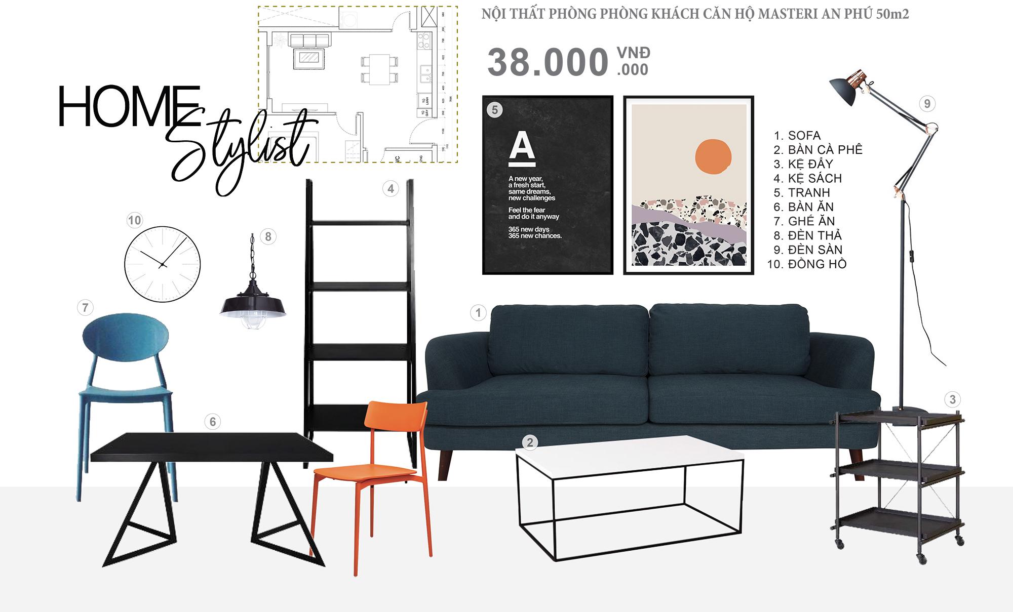 Concept nội thất phòng khách căn hộ Masteri - Mẫu concept là sự tối giản nhưng đảm bảo sự tiện nghi cho không gian căn hộ.