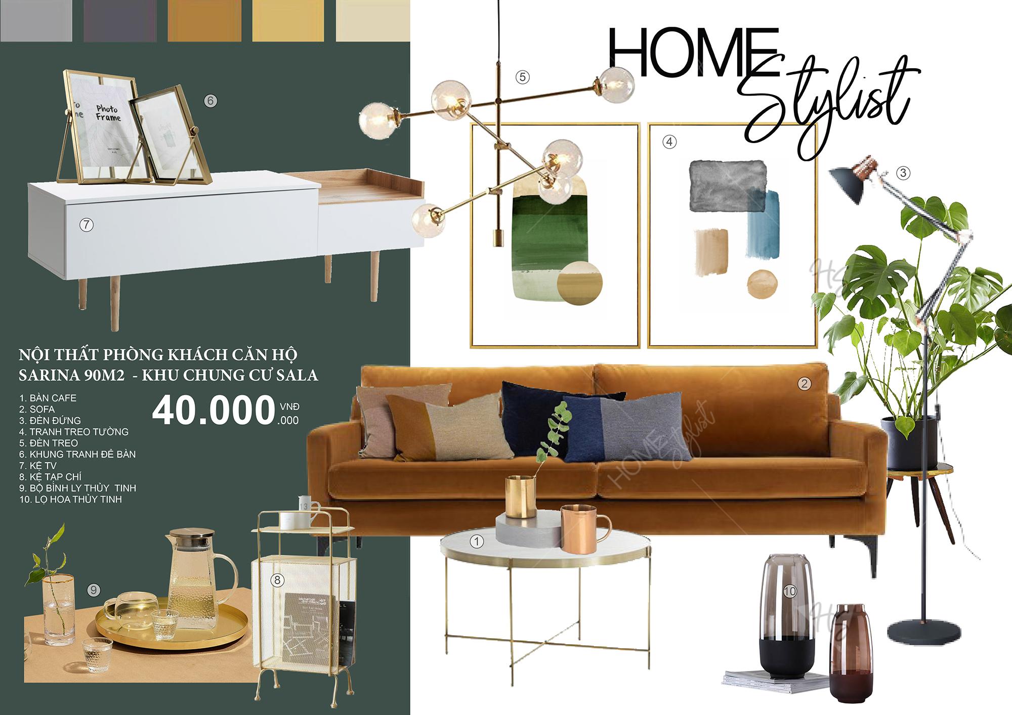 Concept nội thất phòng khách căn hộ Sarina - sở hữu căn hộ Sarina cao cấp tại chung cư Sala thì càng nên chú trọng vào không gian nội thất. Lựa chọn phong cách thiết kế nội thất cho căn hộ mình thật sáng tạo sẽ mang đến cảm giác thoải mái và hãnh diện khi khách đến tham quan.Với bộ Concept này từ Stylist. Bạn sẽ không phải băn khoăn về cách sắp xếp và bố trí đồ nội thất như thế nào cho thật ấn tượng.