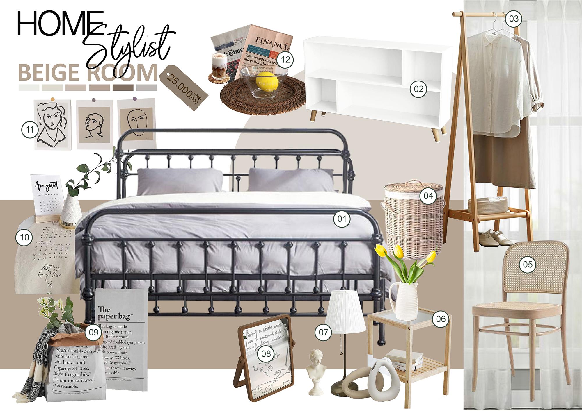 Concept Beige Room - Concept tiện nghi cho phòng ngủ thêm ấm cúng. Chi phí phù hợp cho mọi căn hộ. Liên hệ ngay Stylist.
