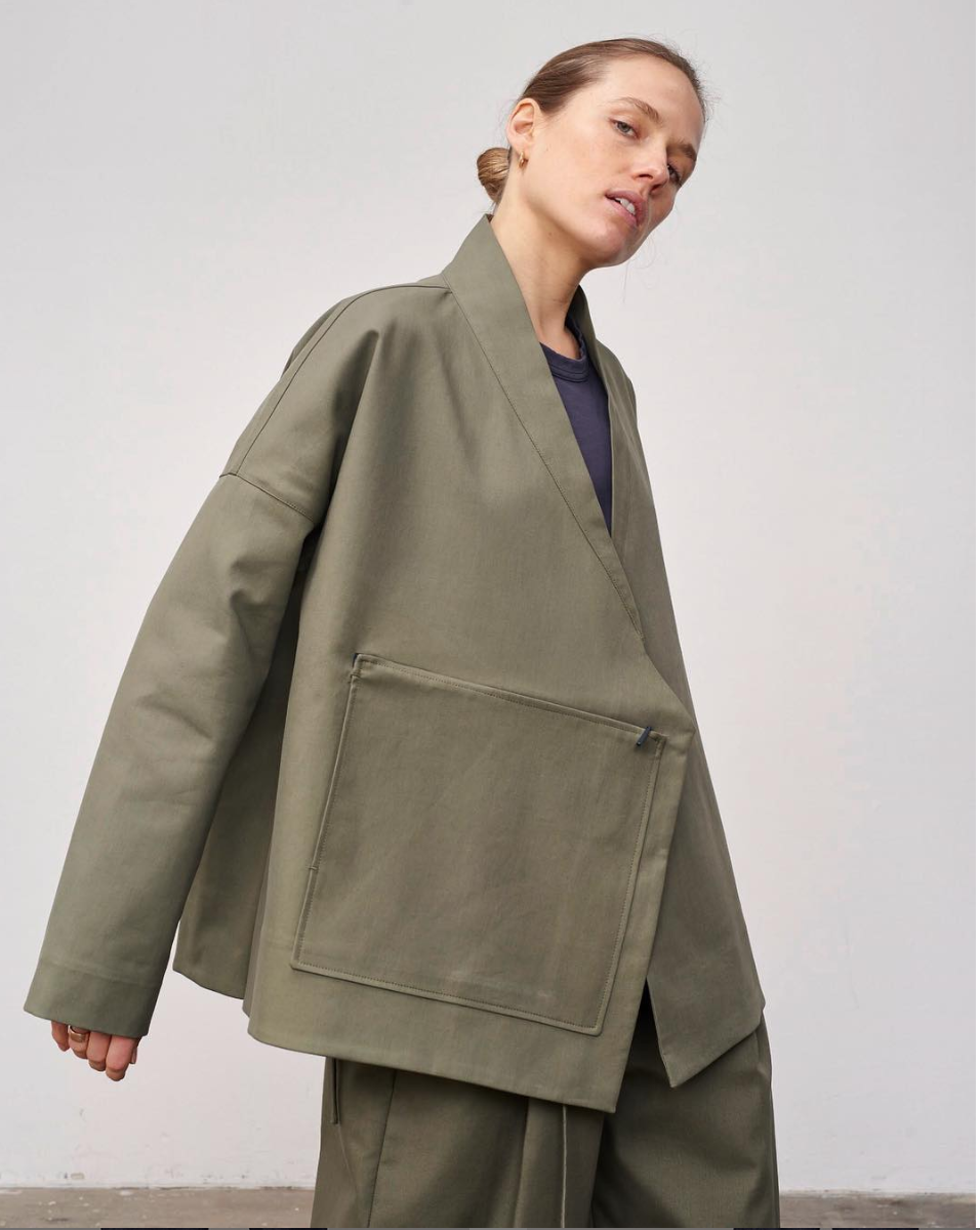 The Crawford Double Faced Cross Front Jacket (OLIVE)