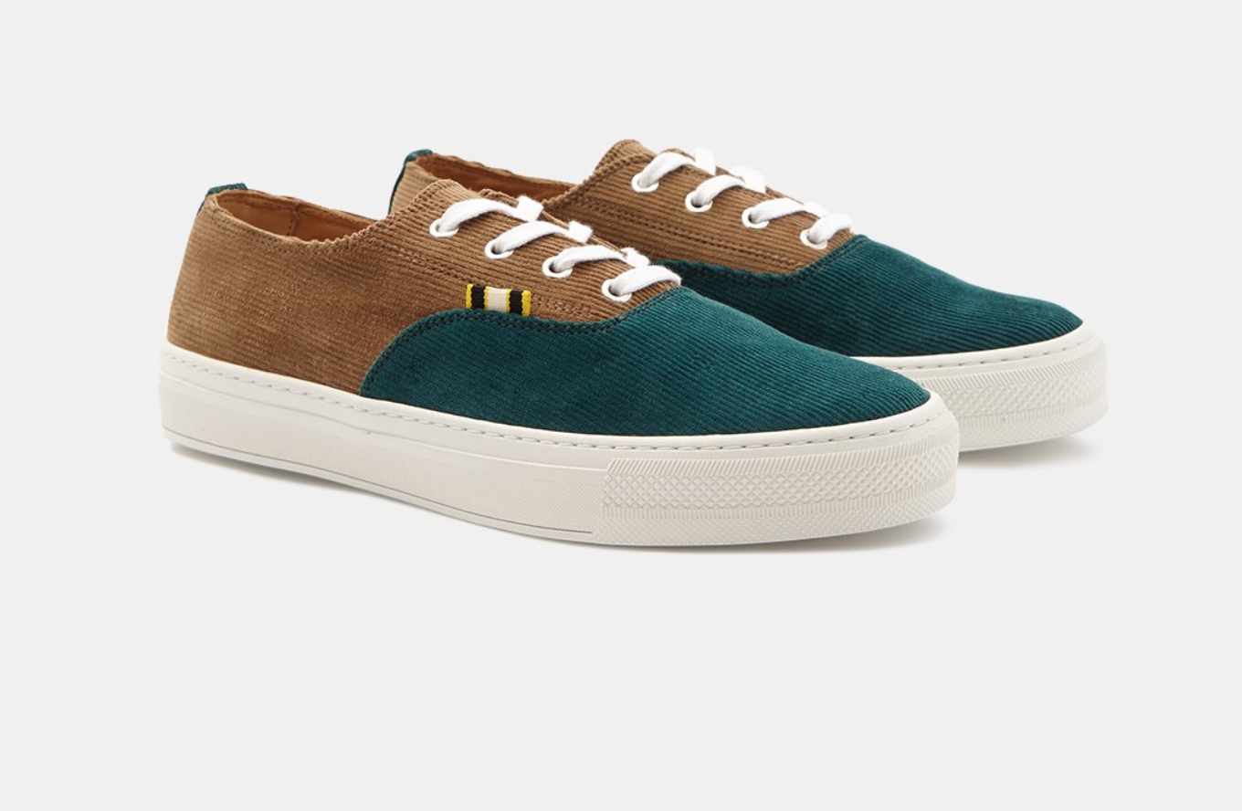 Corduroy- Tan/Forest green