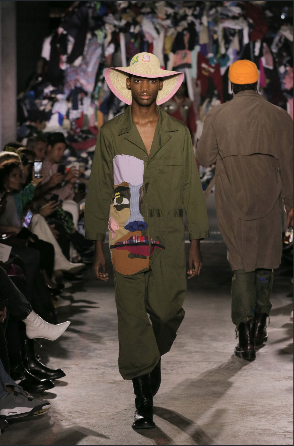 LOOK 4: - Jumpsuit made by Colm from cutting up different shirts into a face. Sewn-on by @cecilialisette. Featuring the unreleased KIDSUPER X NEWERACAP straw hat.