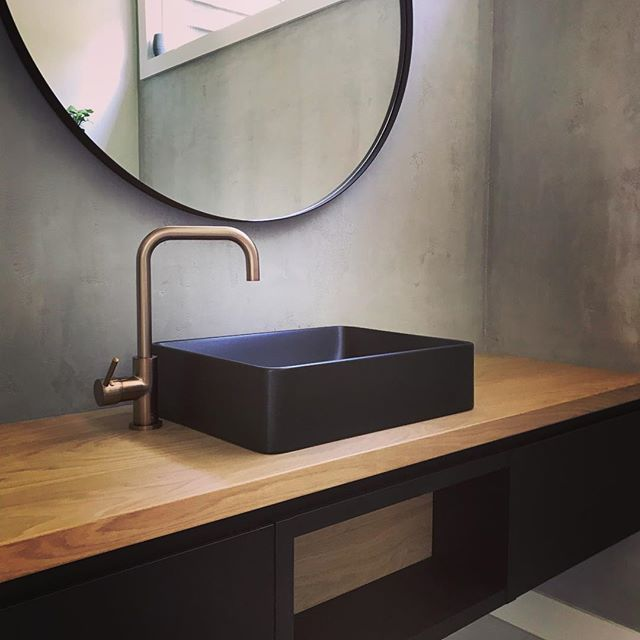 Before and after shot of a recent interiors project.  We transformed this beautiful already completed house into a younger fresher more modern home. (After shot first) . . . . . . #nzarchitecture #design #designandbuild #architecture #bathroom #oak #concrete #interiordesign #custom #cabinetry #limeplaster #bronze #black