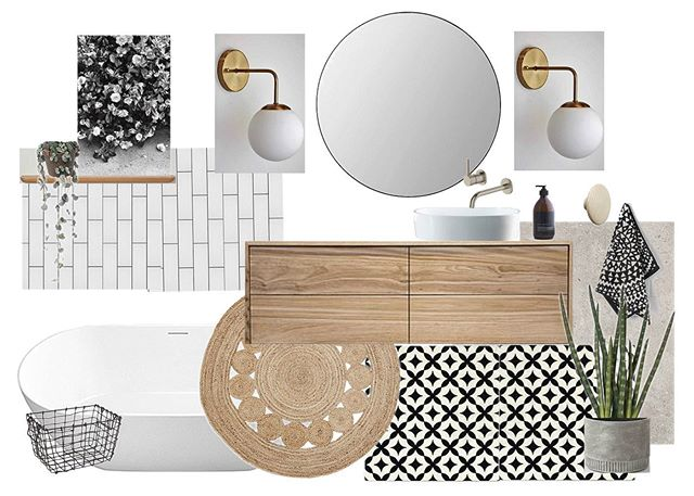 Currently working on ideas for our own bathrooms... I think I'm definitely leaning toward white + timber + concrete floor tiles + lots of plants!  Have to have these gorgeous @mrralphlighting wall lights somewhere too 😍🙏🏻 @venturearch . . . #venturearchitectural #interiors #design #interiordesign #interiorstyling #nzarchitecture #nzdesign #bathroom #bathroomdesign #instadecor #bathroomdecor #moodboard #modernbathroom #iloveplants #plantlovers #featured